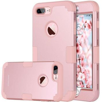 Iphone 8 Plus Case Iphone 7 Plus Case Bentoben Heavy Duty Slim Shockproof Drop Protection 3 In 1 Hybrid Hard Pc Covers Soft Rubber Bumper Protective Case For Iphone 8 Plus / 7 Plus Cute Rose Gold