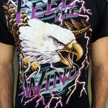 "Lightning + Bald Eagle = American Thunder Vintage ""Feel The Wind"" T Shirt"