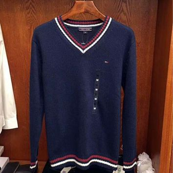 VXL8HQ TOMMY HILFIGER Striped Long Sleeve Cropped Sweater G-G-JGYF