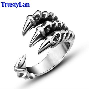 TrustyLan Size 7-12 Punk Rock Stainless Steel Mens Rings Man Gothic Biker Jewelry Silver Color Dragon Claw Finger Ring Male