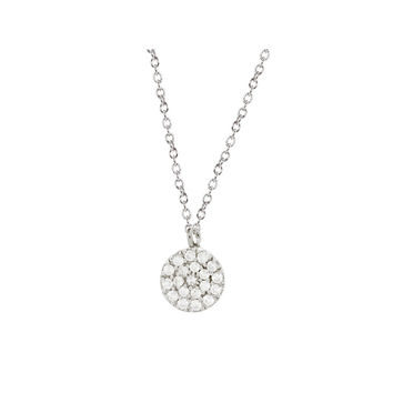 """Mini Sparkling Pave Cz Disc Necklace in Sterling Silver, 16"""" + 2"""""""