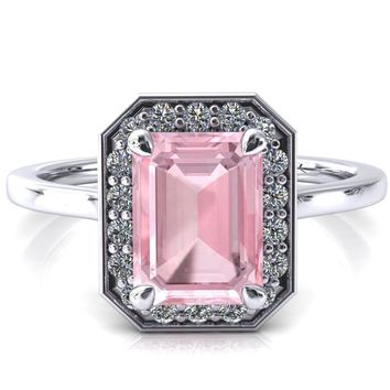 Holly Emerald Pink Sapphire 4 Prong Pinpoint Floating Halo Scalloped Cathedral Ring