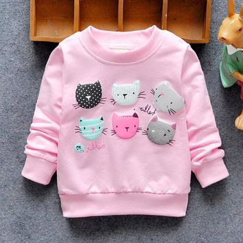 Girls Sweatshirts Winter Spring Autumn Child hoodies 6 Cats long sleeves sweater kids T-shirt clothes