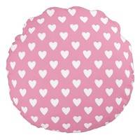 Pink Hearts Round Throw Pillow