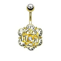 BodyJ4You Crystal Flower Belly Button Ring Jeweled Goldtone