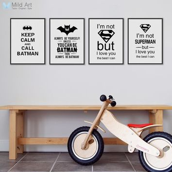 Batman Dark Knight gift Christmas Black White Superhero Batman Typography Quotes Art Prints Poster Nursery Wall Picture Kids Room Decor Canvas Painting No Frame AT_71_6