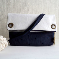Vegan Foldover clutch and satchel bag, 2 in 1, white and navy linen, owl charm, detachable strap,Ready To Ship.