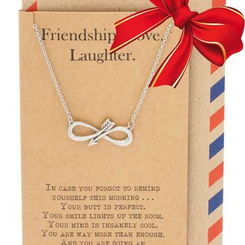 Shannon Infinity Arrow Friendship Necklace for Women with Inspirational Quote, Gift for Best Friends