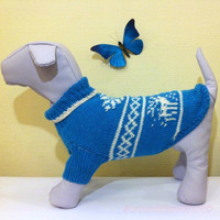 Knit Warm Winter Handmade Pattern Sweater For Big Dog.  Knit Dog Pattern Clothing. Knit Pattern Pet Sweater. Big Dog Clothes. Size XXL