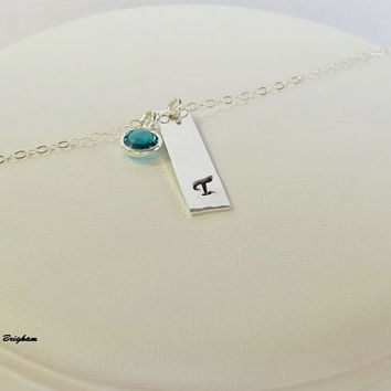 Initial Vertical Bar Minimal Necklace Sterling Silver Rectangle Gift Idea Friend Sister Mother Girlfriend Wife Bridesmaid Maid of Honor