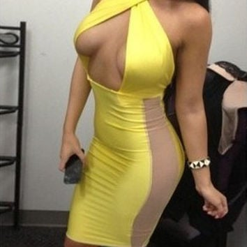 Yellow Cross Halter Neck Bold Open Club Dress