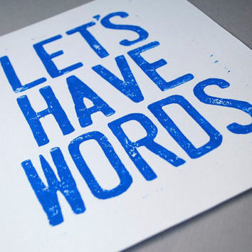 8 x 10 Blue Linocut Print Let's Have Words Block by CursiveArts