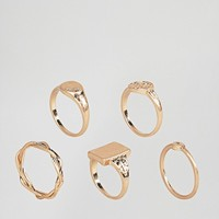 ASOS Pack of 5 Vintage Style Signet Rings at asos.com