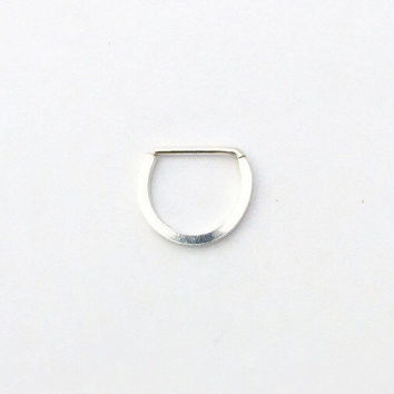 Square Septum - Sterling Silver Septum Ring - 18 g or 16 g - Nose Ring - Handmade - Horseshoe shaped - Custom Made to Order