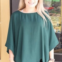 Forest Green Kimono Sleeve + Side Tie Blouse