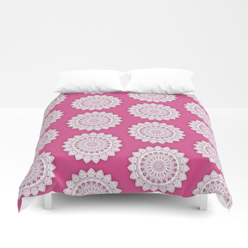 MINIMALIST MANDALA COLLAGE IV (DEEP HOT PINK MAROON) Duvet Cover by AEJ Design