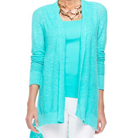 Women's Linen-Cotton Slub Cardigan, Petite - Eileen Fisher