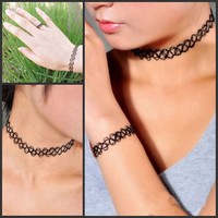 BeWild Brand® Complete Set Choker, Bracelet and Ring Elastic Tattoos - Ships From United States