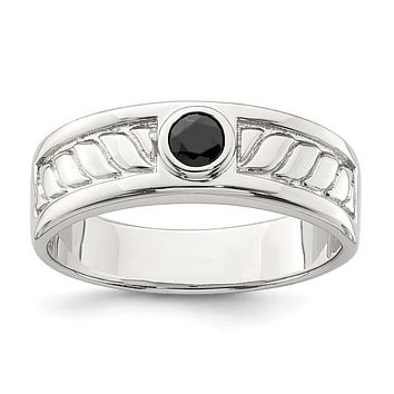Sterling Silver Men's Bezel Onyx Textured Band Ring