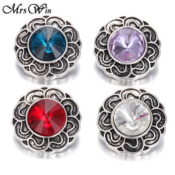 10pcs/lot New Fashion 18MM -20MM Snap Jewelry Glass Rhinestone Snap Vintage Alloy Button fit 18mm Snap Bracelet S668