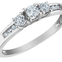 Three Stone Diamond Engagement Ring 1/4 Carat (ctw) in 10K White Gold, Size 7