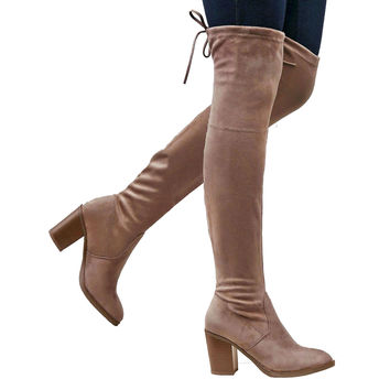 Womens Knee High Boots Zipper Closure Block Heel  Over the Knee Boots Taupe