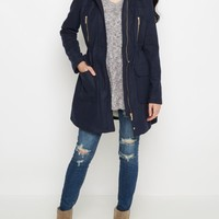 Navy Woolen Faux Fur Hooded Coat | Anorak & Twill Jackets | rue21