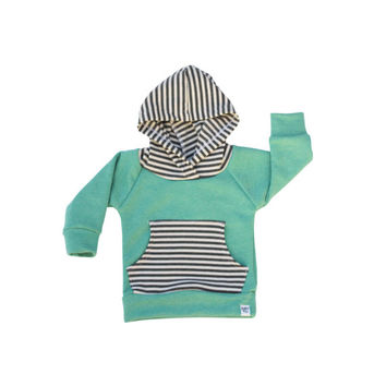 mint and grey stripe hoodie, newborn baby hoodie, french terry hoodie, baby jogger outfit, baby girl sweatshirt, modern baby clothing