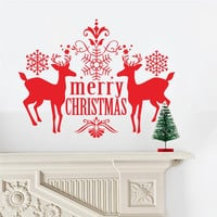 merry christmas reindeer stickers animals room covers decor 044. diy vinyl gift home decals festival mual art poster 3.5 SM6
