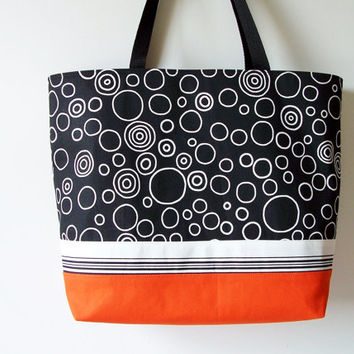 SUMMER Large Orange Black White Circles Bubbles Large Tote/Purse/Beach Pool Bag/Diaper/Carry All