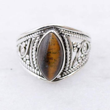 Tiger eye ring, silver ring,   stone ring, silver Tiger eye ring,92.5 sterling silver, Natural tiger eye stone Silver Ring,RNSLTR301