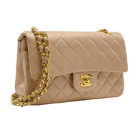 Chanel Vintage Beige Lambskin Medium Double Flap