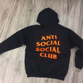 Antisocial Social Club Hoodie, Anti Social Hooded Sweatshirts, Black, Long Sleeve