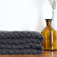 Chunky Knit Throw Blanket - Charcoal