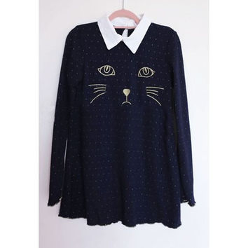 Navy Cat Print Long Sleeve Sweater