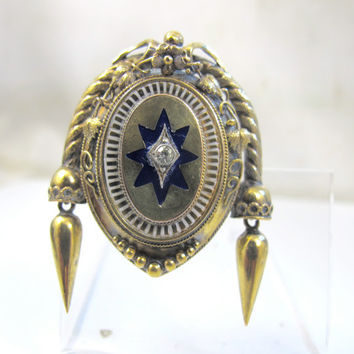 Victorian Gold Locket Brooch Pendant Diamond Blue White Enamel 10K Yellow Gold Etruscan Mourning Hair Photo Locket Antique Jewelry