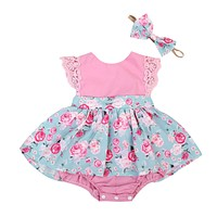 Baby Girl Lace Romper Sleeveless Cute Summer Clothes Party Baby Girls Kids Clothing Tops Outfits Set Floral Princess