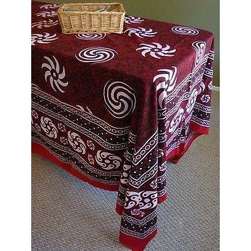 Cotton Sunflower Spiral Tablecloth Tapestry Spread Maroon 60x88 & 87x90 inches