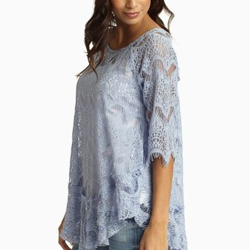 Dusty Blue Lace 3/4 Sleeve Blouse