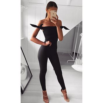 Ride Or Die Black Off The Shoulder Bows Skinny Bodycon Bandage Jumpsuit