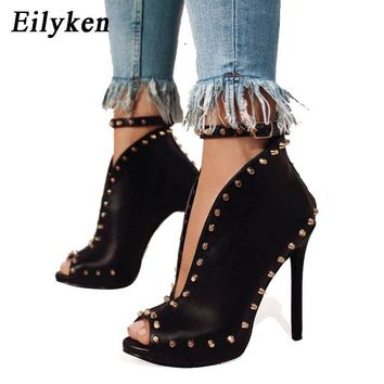 Eilyken New Women Shoes 2018 Peep Toe Booties High Heels Women's Shoes Ankle Strap Rivets Buckle Women's Boots Sandals Black