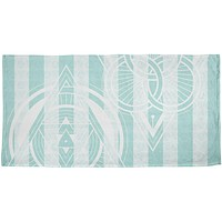 Summer Sacred Geometry Teal Stripes All Over Beach Towel