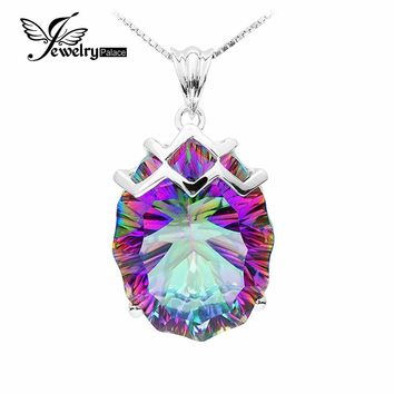 Jewelrypalace 21ct Natural Rainbow Fire Mystic Topaz Pendant Charm Gem Stone Genuine Solid 925 Sterling Silver Vintage Brand New