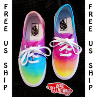 Tie Dye Vans Shoes, Rainbow Shoes, Hand Dyed Shoes, Tye Dye Vans, Coachella Fest Gear