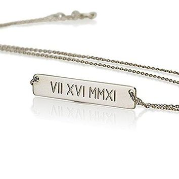 Roman Numerals Necklace- Date Necklace- Sterling Silver