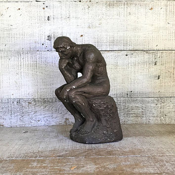 Thinking Man Statue Thinking Man Sculpture Chalkware Statue Thinking Man Door Stop Library Decor Office Decor Man Figurine Bookend