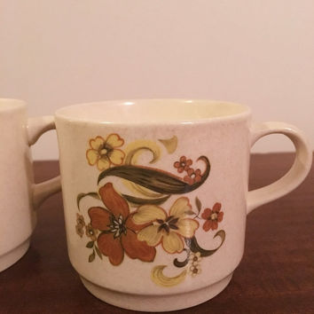 "Vintage 1970s Pair of Johnson of Australia Mugs Featuring ""Corfu"" Pattern / Retro Stoneware Mugs / Stackable Mugs"