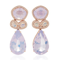 14K Rose Gold Moonstone and Lavender Amethyst Earrings | Moda Operandi
