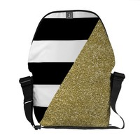 Gold Monochrome Messenger Bag Outside Print