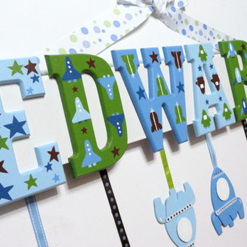 Baby Name Sign 4 Letters Custom Hand Painted by SarasHandmades